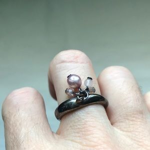 BCBG pink pearl, rose quartz, & crystal ring